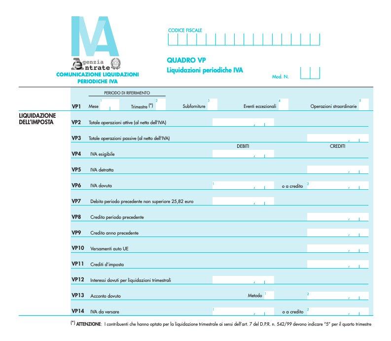 Quadro VP del Modello liquidazioni periodiche IVA