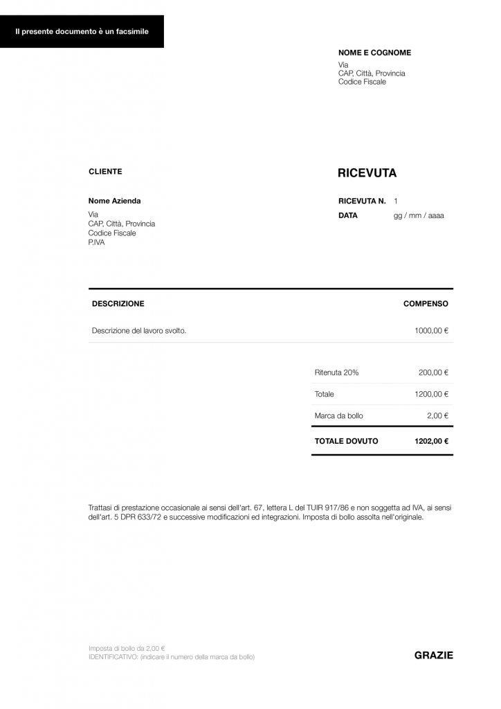 Facsimile della ricevuta per prestazione occasionale per lavorare senza p.iva