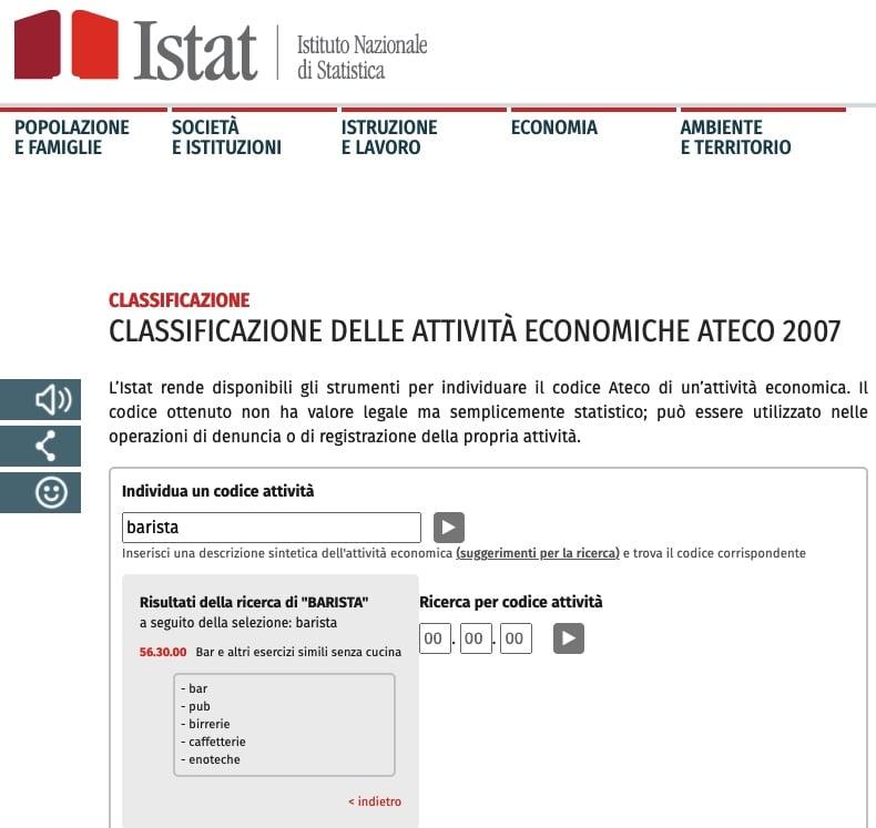 Regime Forfettario Ricerca Codice Ateco Modello Istat